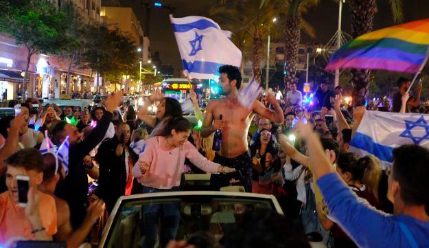 Tel Aviv celebrating