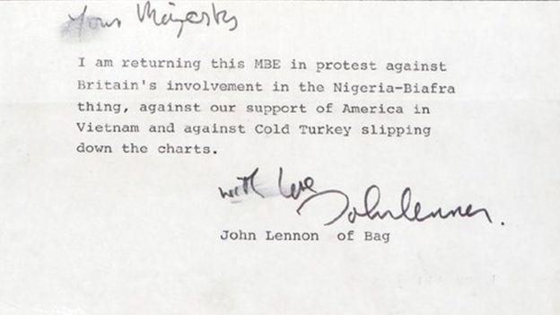 La lettre de Lennon à SM la Reine