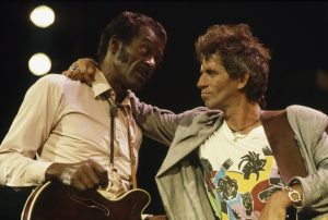 Chuck Berry with Keith Richards of The Rolling Stones at The Fox Threatre St Louis during filming of the documentary Hail Hail rock N Roll. (Photo by Terry O'Neill/Iconic Images/Getty Images)