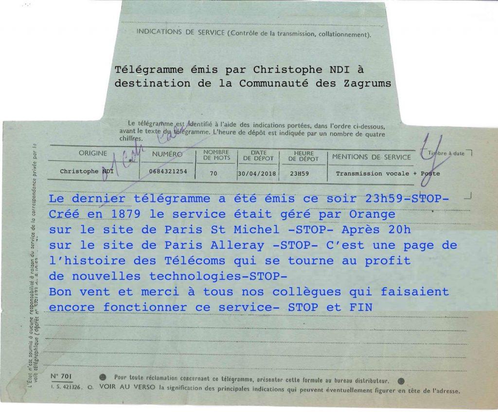 Dernier télégramme à paris