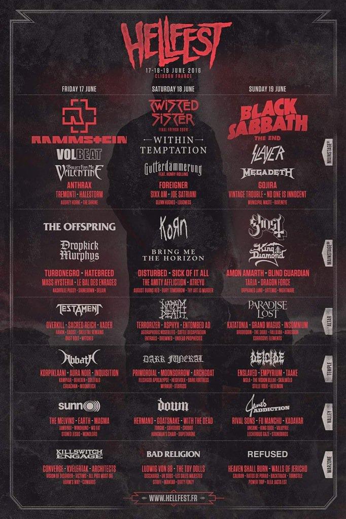 Hellfest programme 2016