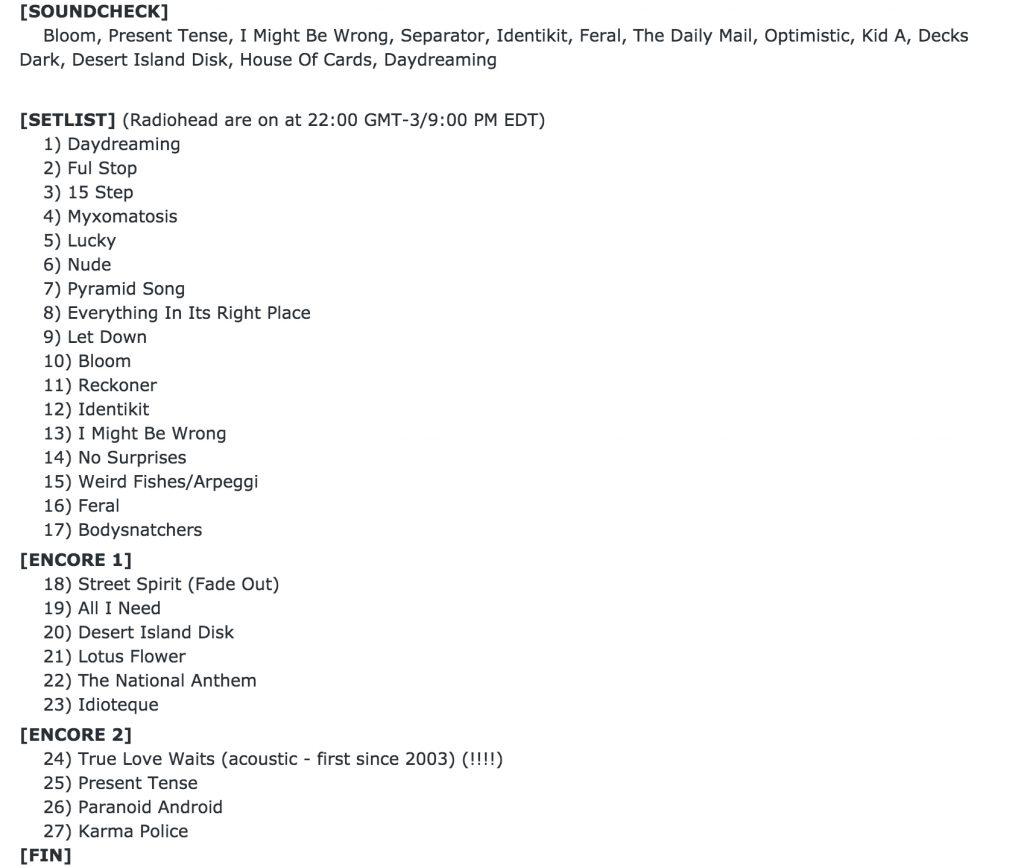 Set List Radiohead